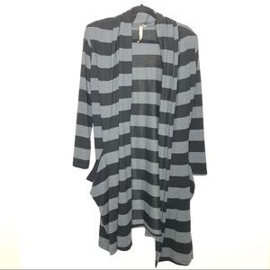 Comfy USA Striped Waterfall Open Front Cardigan